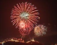 Khao Wang con i fuochi d'artificio Immagini Stock