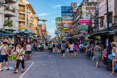 The Khaosan Road is 400 meters long and is the most famous street in Bangkok. Royalty Free Stock Image