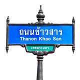 Khaosan Road sign isolated on white. Khoasan Road is one of the most famous location for foreigner in Bangkok , Thailand Stock Photos