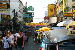 Khaosarn road at midday, Bangkok, Thailand. Stock Photography