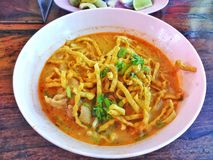 KhaoSoi Kai ,Northern Style Curried Noodle Soup stock photography