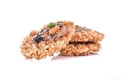 Khaotan, rice cracker on white background Stock Image