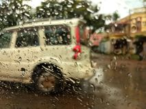 Rainy day- - cloudy weather. KHARAGPUR , INDIA , ASIA - SEP , 20 : Shooting in rain produces dramatic atmosphere and soft romantic scenes. Whether you are after royalty free stock photo