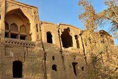 Kharanaq mud-brick village on the Silk Road. Iran. Cumbling mud-brick, ruins village of Kharanaq, Silk Road Yazd, Iran royalty free stock photo
