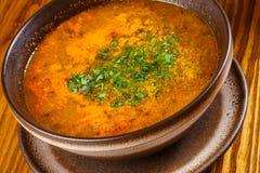 Kharcho Carne y sopa de verduras georgianas picantes Fotos de archivo libres de regalías