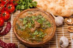 Kharcho.Georgian-nötkött-valnöt soup Arkivbilder