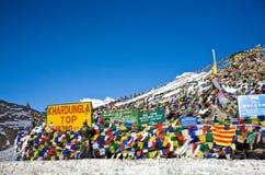 Khardung La上面在高度18,380英尺,拉达克,查谟和克什米尔,印度 库存图片