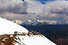 Khardung La Pass in the Indian Himalaya, Ladakh Stock Photos