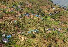 Kharikhola village, Nepalese Himalayas mountains Stock Image