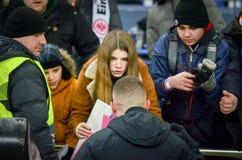 KHARKIV, ΟΥΚΡΑΝΙΑ - 14 Φεβρουαρίου 2019: Ο θαυμαστής χρωμάτισε μια εικόνα με το προηγούμενο Rebic εικόνας κατά τη διάρκεια της αν στοκ φωτογραφίες