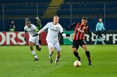 KHARKIV, ΟΥΚΡΑΝΙΑ - 14 Φεβρουαρίου 2019: Ο Sebastian οδήγησε τον παίκτη κατά τη διάρκεια της αντιστοιχίας ένωσης UEFA Ευρώπη μετα στοκ φωτογραφίες