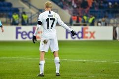 KHARKIV, ΟΥΚΡΑΝΙΑ - 14 Φεβρουαρίου 2019: Ο Sebastian οδήγησε τον παίκτη κατά τη διάρκεια της αντιστοιχίας ένωσης UEFA Ευρώπη μετα στοκ φωτογραφίες με δικαίωμα ελεύθερης χρήσης
