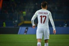 KHARKIV, ΟΥΚΡΑΝΙΑ - 21 ΦΕΒΡΟΥΑΡΊΟΥ 2018: Cengiz κάτω κατά τη διάρκεια του UEFA Γ στοκ εικόνες