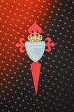 KHARKIV, DE OEKRAÏNE - 23 FEBRUARI: Officieel embleem en embleem RC Celta DE Stock Foto's