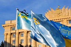 KHARKIV, DE OEKRAÏNE - MEI 18: Een vergadering in geheugen van slachtoffers van de volkerenmoord van Krimtatars Stock Foto