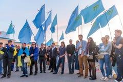 KHARKIV, DE OEKRAÏNE - MEI 18: Een vergadering in geheugen van slachtoffers van de volkerenmoord van Krimtatars Stock Afbeeldingen