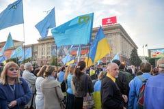KHARKIV, DE OEKRAÏNE - MEI 18: Een vergadering in geheugen van slachtoffers van de volkerenmoord van Krimtatars Royalty-vrije Stock Afbeelding