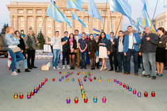 KHARKIV, DE OEKRAÏNE - MEI 18: Een vergadering in geheugen van slachtoffers van de volkerenmoord van Krimtatars Stock Foto's