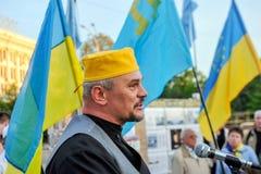 KHARKIV, DE OEKRAÏNE - MEI 18: Een vergadering in geheugen van slachtoffers van de volkerenmoord van Krimtatars Stock Fotografie