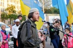 KHARKIV, DE OEKRAÏNE - MEI 18: Een vergadering in geheugen van slachtoffers van de volkerenmoord van Krimtatars Stock Afbeelding