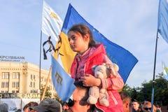 KHARKIV, DE OEKRAÏNE - MEI 18: Een vergadering in geheugen van slachtoffers van de volkerenmoord van Krimtatars Royalty-vrije Stock Fotografie