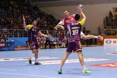 KHARKIV, DE OEKRAÏNE - SEPTEMBER 22: EHF de gelijke van de de Kampioenenliga van Mensen tussen HC-Motor Zaporozhye en HBC Nantes stock foto's