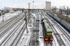 Kharkiv landskap med järnvägspår nära den södra järnvägsstationen Fisheye foto med konstnärlig distorsion royaltyfria foton