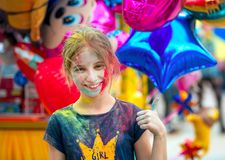 People celebrating Holi color festival in Kharkiv, Ukraine. Stock Photos