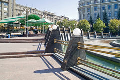 Kharkiv. On the square. UKRAINE, KHARKIV - July 04.2014:  Decorative fence fountain on the Station Square Stock Photos