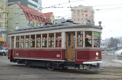 Kharkiv tram. Renovated retro excursion tram in Kharkiv Royalty Free Stock Photos