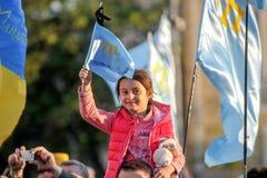KHARKIV, UCRÂNIA - 18 DE MAIO: Uma reunião na memória das vítimas do genocídio de Tatars crimeanos por ocasião do 72nd anniversar Imagens de Stock Royalty Free