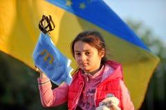KHARKIV, UCRÂNIA - 18 DE MAIO: Uma reunião na memória das vítimas do genocídio de Tatars crimeanos por ocasião do 72nd anniversar Fotos de Stock Royalty Free