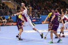 KHARKIV, UCRÂNIA - 22 DE SETEMBRO: Harmonia de liga dos campeões dos homens do EHF entre o motor Zaporozhye e HBC Nantes de HC Foto de Stock Royalty Free