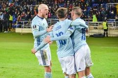 KHARKIV, UCRÂNIA - 23 DE FEVEREIRO: Celta comemora o duri marcado objetivo imagem de stock