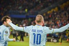 KHARKIV, UCRÂNIA - 23 DE FEVEREIRO: Celta comemora o duri marcado objetivo fotografia de stock royalty free