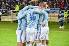 KHARKIV, UCRÂNIA - 23 DE FEVEREIRO: Celta comemora o duri marcado objetivo fotos de stock