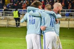 KHARKIV, UCRÂNIA - 23 DE FEVEREIRO: Celta comemora o duri marcado objetivo imagens de stock royalty free