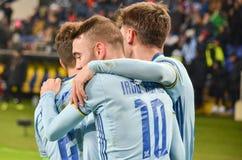KHARKIV, UCRÂNIA - 23 DE FEVEREIRO: Celta comemora o duri marcado objetivo foto de stock royalty free