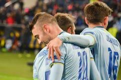 KHARKIV, UCRÂNIA - 23 DE FEVEREIRO: Celta comemora o duri marcado objetivo imagens de stock