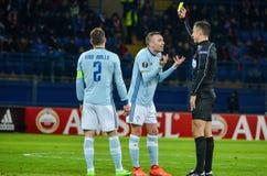 KHARKIV, UCRÂNIA - 23 DE FEVEREIRO: Iago Aspas recebeu um dur do cartão amarelo Fotografia de Stock