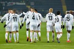 KHARKIV, UCRÂNIA - 14 de fevereiro de 2019: O jogador do Eintracht Frankfurt comemora o objetivo marcado durante o fósforo do UEF imagem de stock