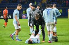KHARKIV UKRAINA, FEB, - 23: Gracz futbolu Celta zapewnia zdrowie Fotografia Stock