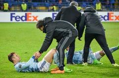 KHARKIV UKRAINA, FEB, - 23: Gracz futbolu Celta zapewnia zdrowie Zdjęcie Stock