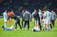 KHARKIV UKRAINA, FEB, - 23: Gracz futbolu Celta zapewnia zdrowie Zdjęcie Royalty Free