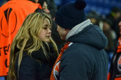 KHARKIV UKRAINA, FEB, - 23: Para w miłości przy stadium podczas Zdjęcia Stock