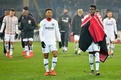 KHARKIV UKRAINA - Februari 14, 2019: Jonathan de Guzman och Danny da Costa under UEFA Europa Leaguematchen mellan Shakhtar royaltyfri foto