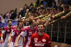KHARKIV UKRAINA - SEPTEMBER 22: Ehf-mäns match för liga för mästare mellan HC-motorn Zaporozhye och HBC Nantes Arkivbild