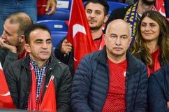 KHARKIV UKRAINA - September 02, 2017: Fans av landslaget Royaltyfri Fotografi