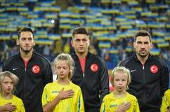 KHARKIV UKRAINA - September 02, 2017: Fotbollsspelare av net Arkivfoton
