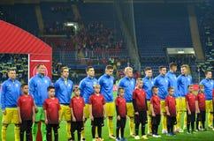 KHARKIV UKRAINA - September 02, 2017: Fotbollsspelare av Uen Fotografering för Bildbyråer